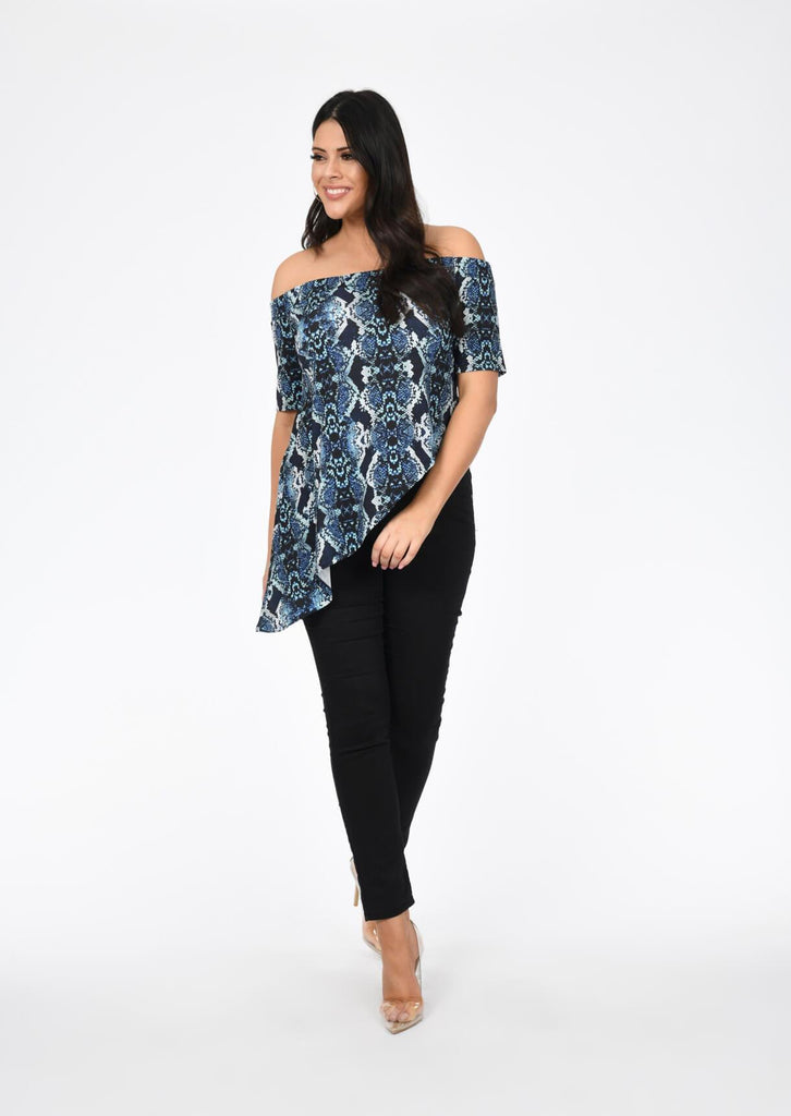 Plus Size Bardot Asymmetric Snake Print Top in Multi view 5