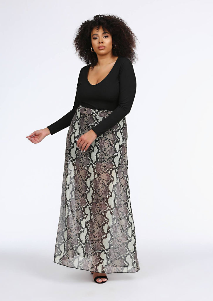 Multi Snake Print Maxi Skirt 1 view main view
