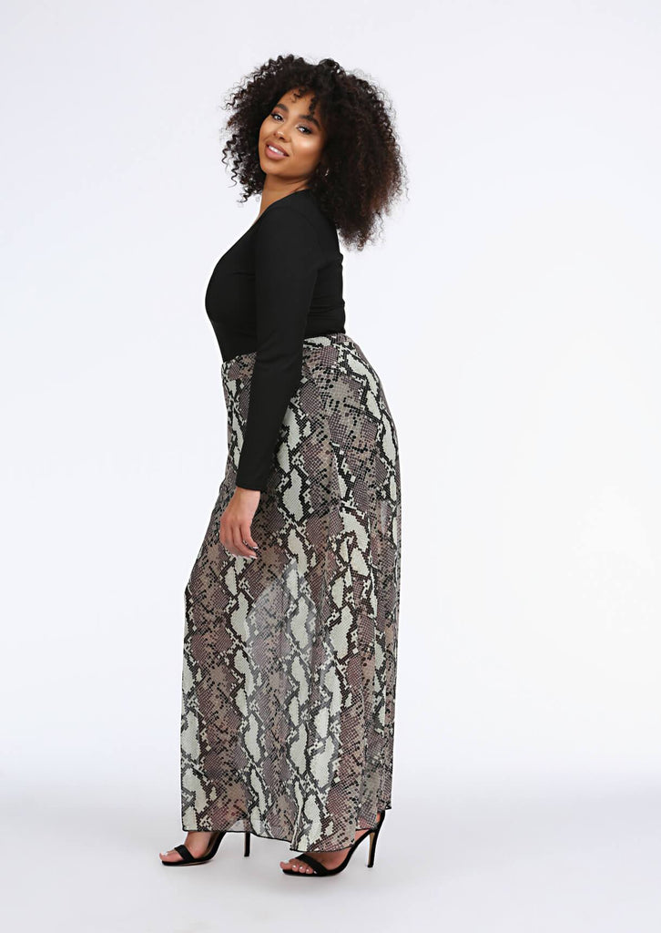 Multi Snake Print Maxi Skirt 3 view 3