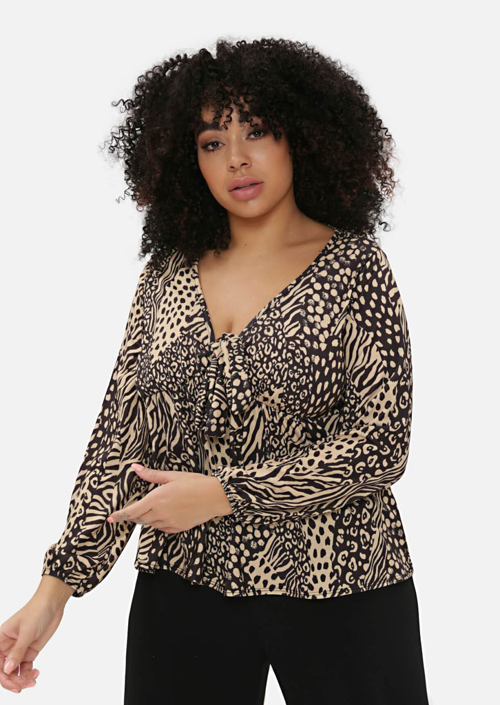 Pink Clove Leopard Tea Blouse view main view