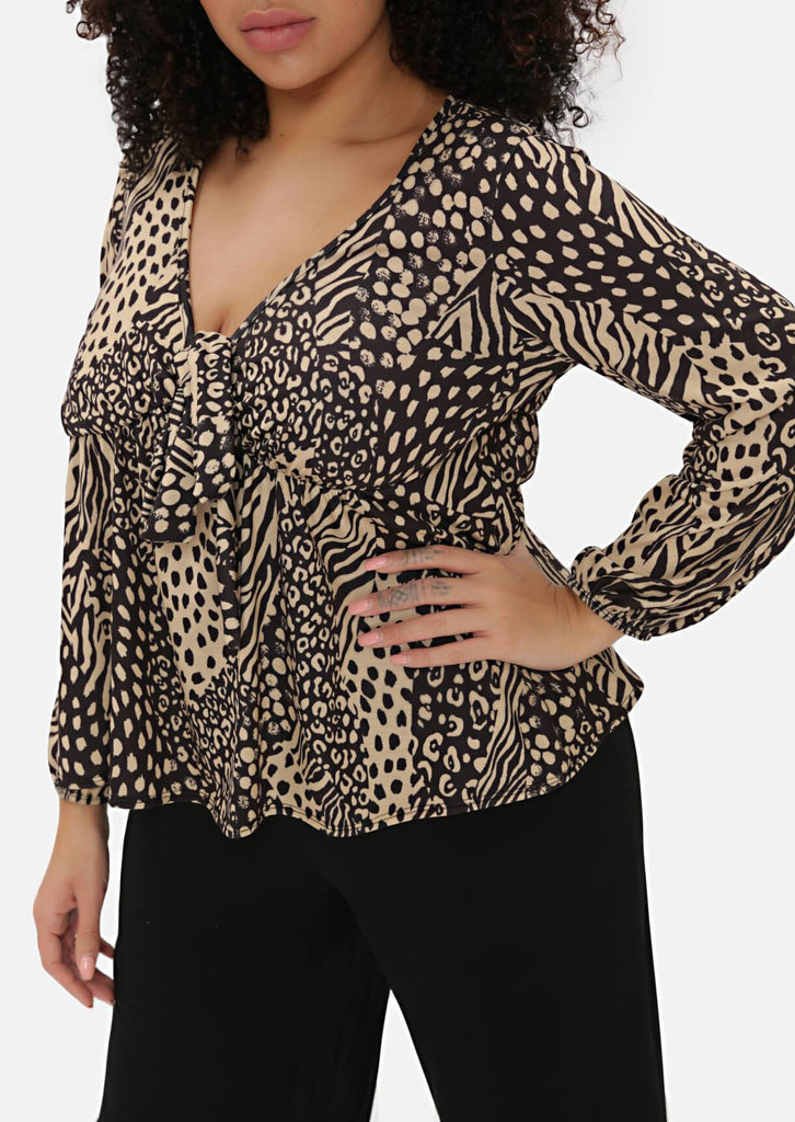 Pink Clove Leopard Tea Blouse view 2