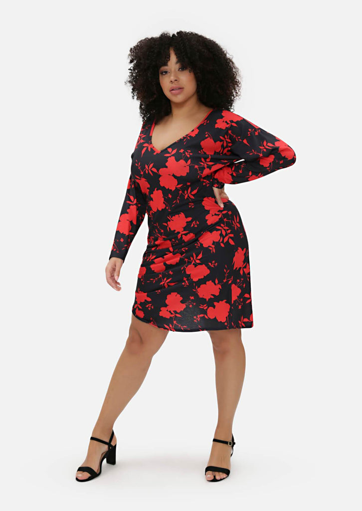 Pink Clove Red Floral Midi Dress view 3