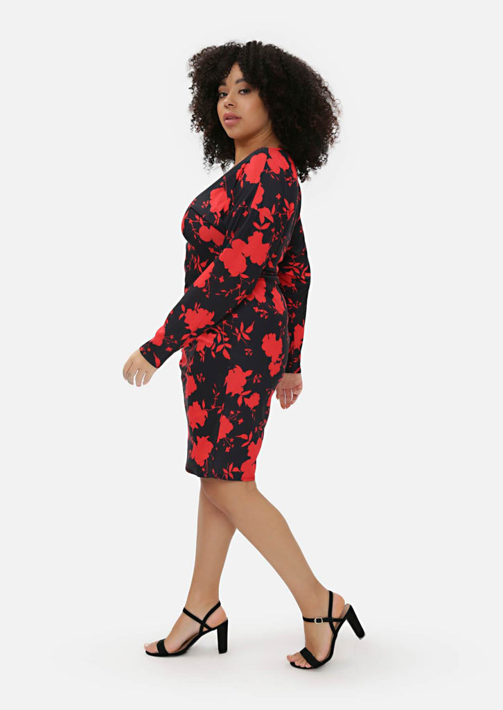 Pink Clove Red Floral Midi Dress view 4
