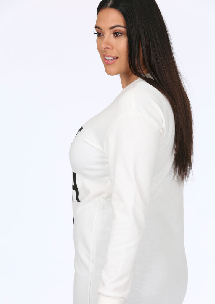 Plus Size White Slogan Long Sleeve Top view 3