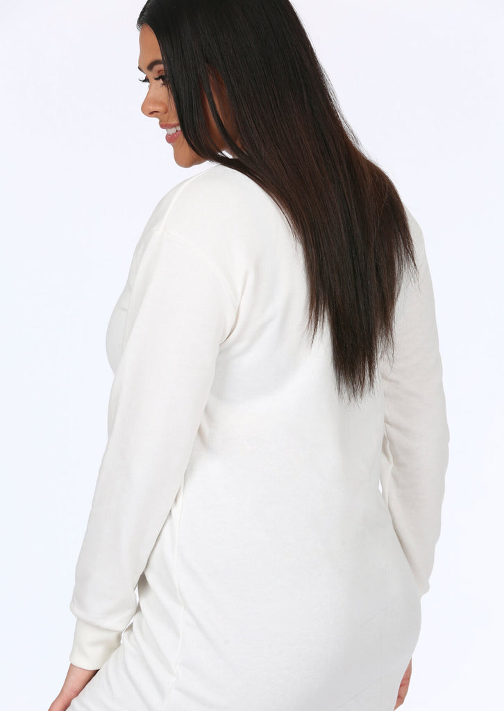 Plus Size White Slogan Long Sleeve Top view 4