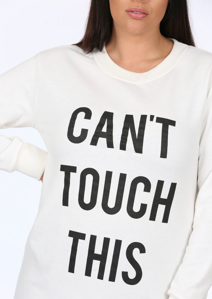 Plus Size White Slogan Long Sleeve Top view 5