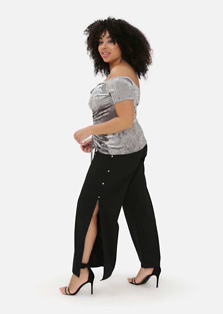 Pink Clove Black Wide Leg Trousers view 2