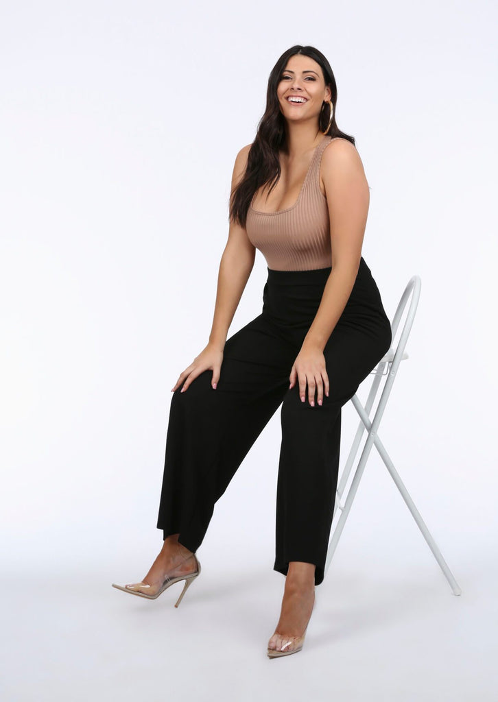 Plus Size Flared Trousers in Black