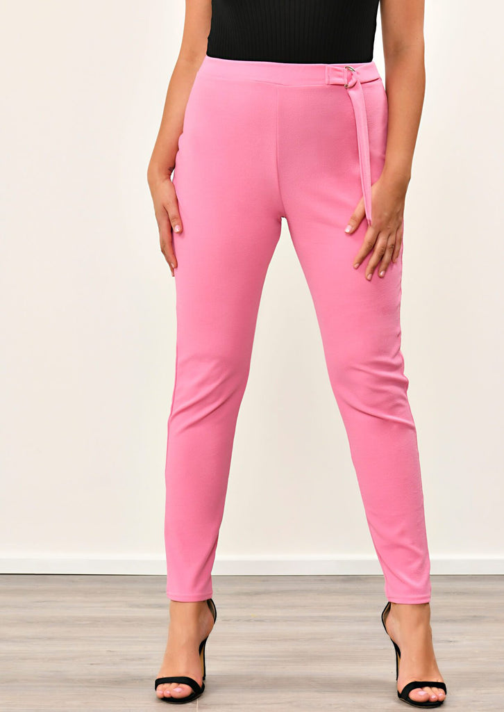 Pink Clove Coral Double Buckle Trousers view 4