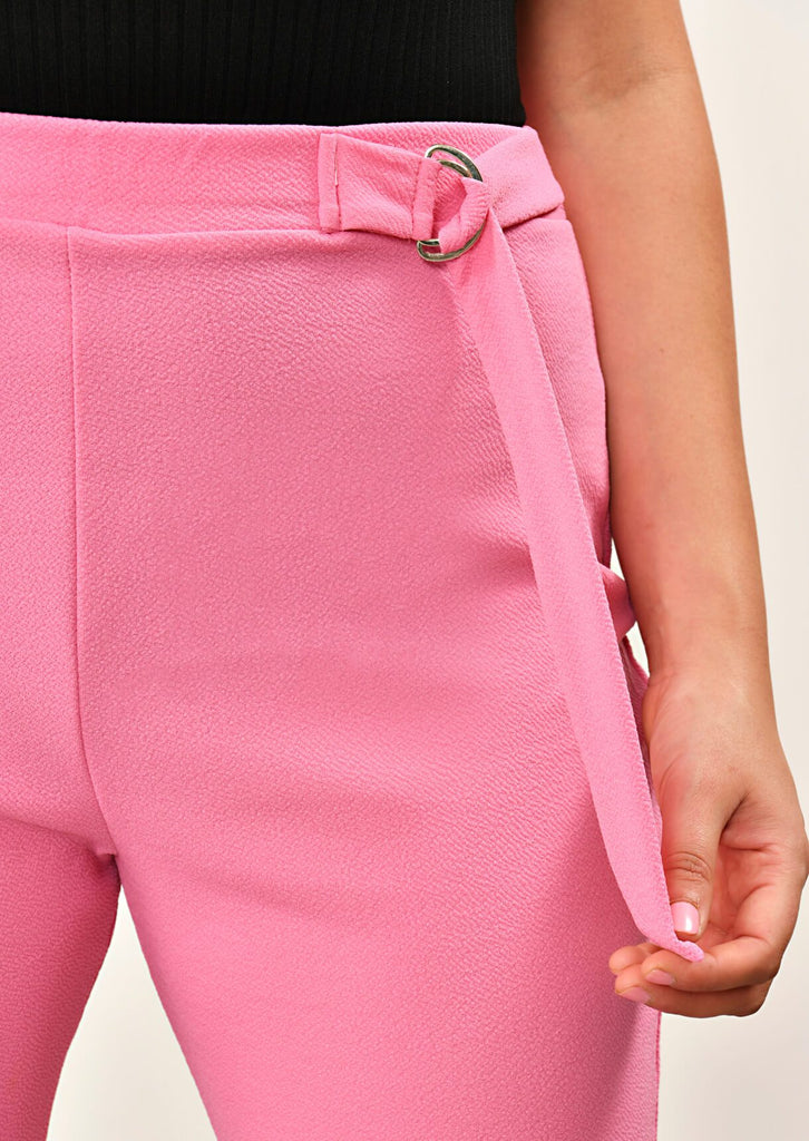 Pink Clove Coral Double Buckle Trousers view 5