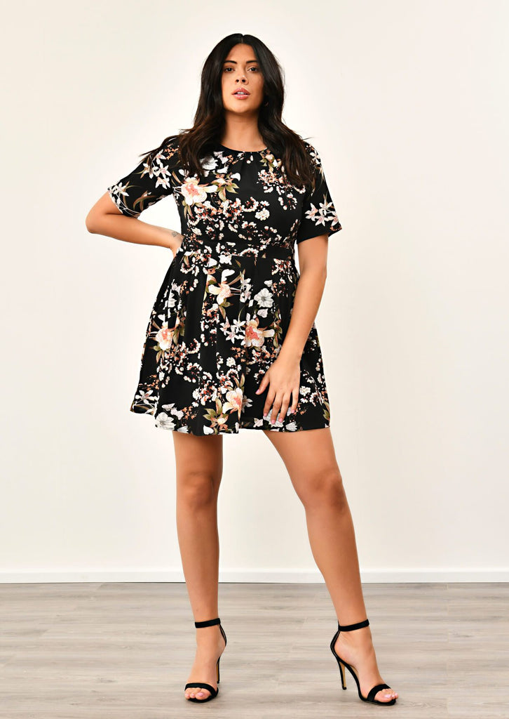 Pink Clove Black Pleated Floral Dress view 2