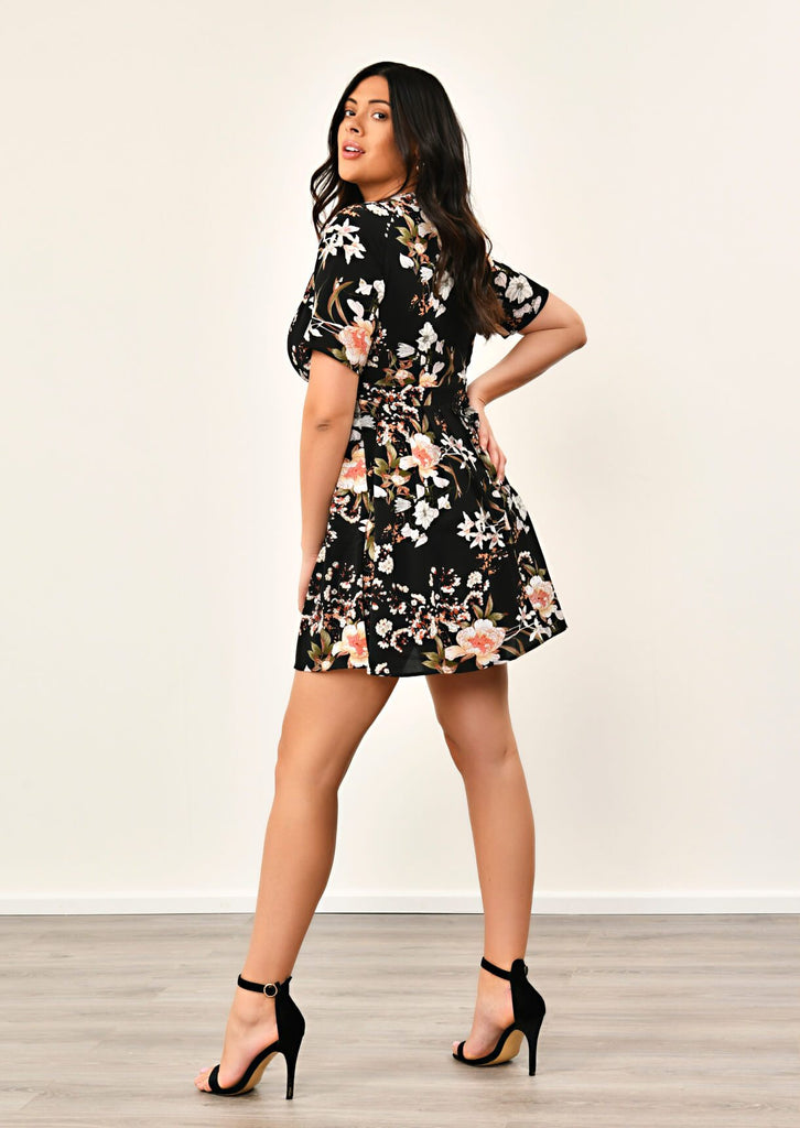 Pink Clove Black Pleated Floral Dress view 3