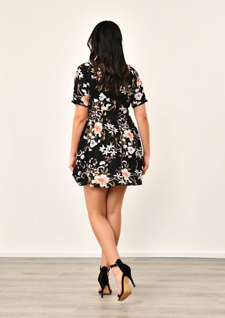 Pink Clove Black Pleated Floral Dress view 4