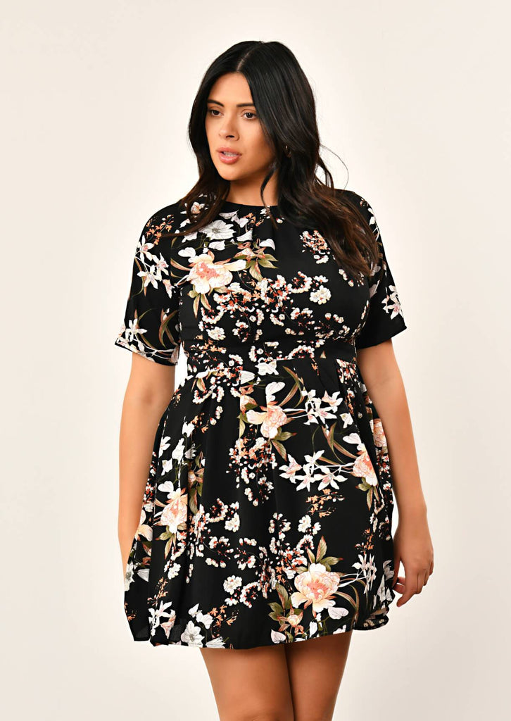 Pink Clove Black Pleated Floral Dress