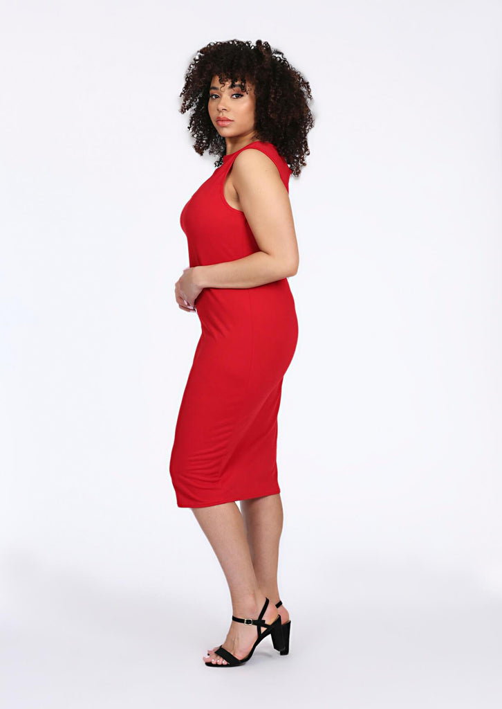 Pink Clove Red Shoulder Cut Out Midi Dress view 2