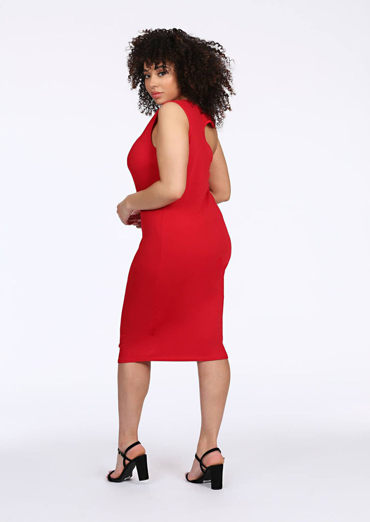 Red Shoulder Cut Out Midi Dress 3 view 3