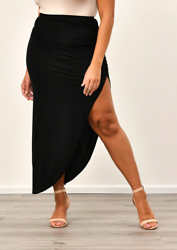 Black Ruched Jersey Maxi Skirt 2 view 2