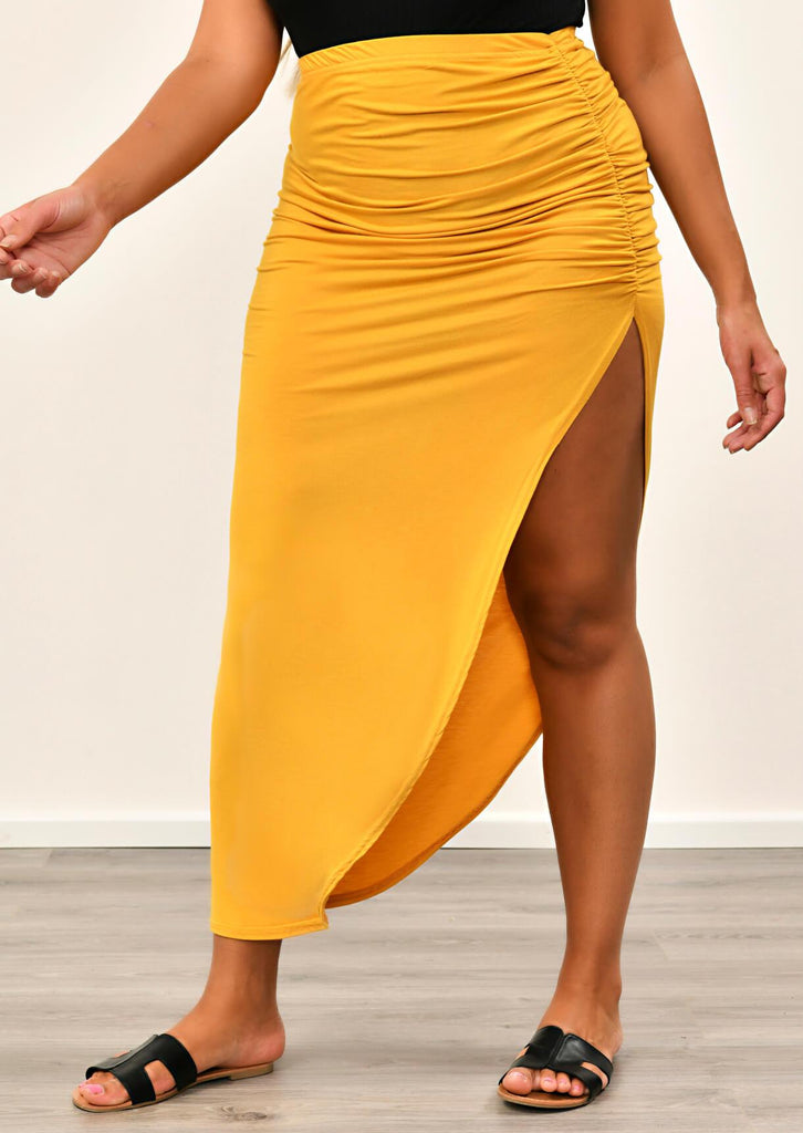 Yellow Chartreuse Ruched Jersey Maxi Skirt 4 view 4