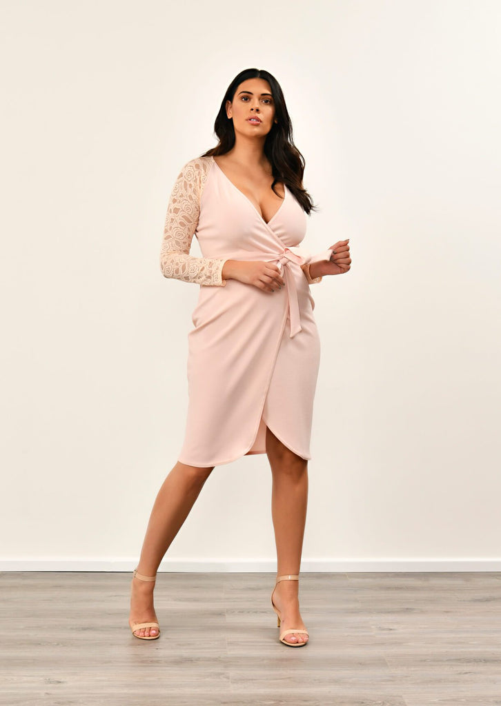 Pink Clove Nude Lace Sleeve Wrap Dress view 3