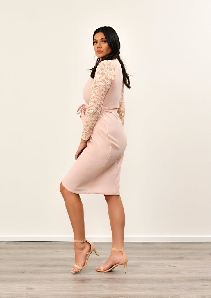 Pink Clove Nude Lace Sleeve Wrap Dress view 4