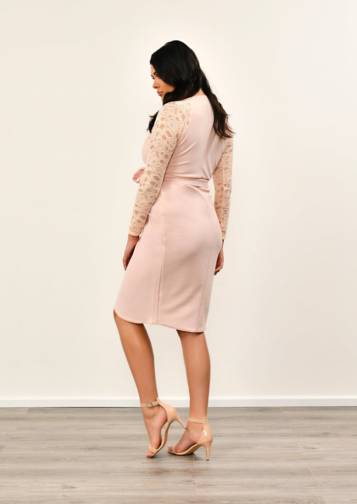 Pink Clove Nude Lace Sleeve Wrap Dress view 2