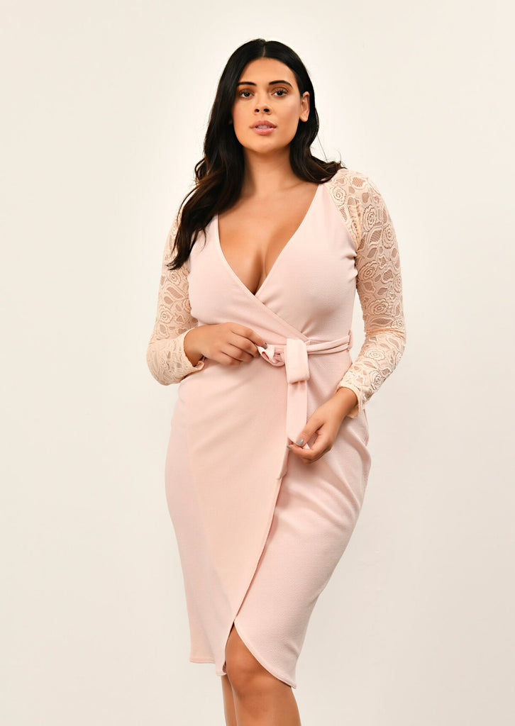 Pink Clove Nude Lace Sleeve Wrap Dress