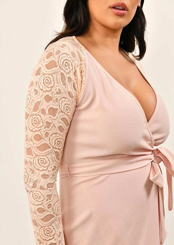 Pink Clove Nude Lace Sleeve Wrap Dress view 5