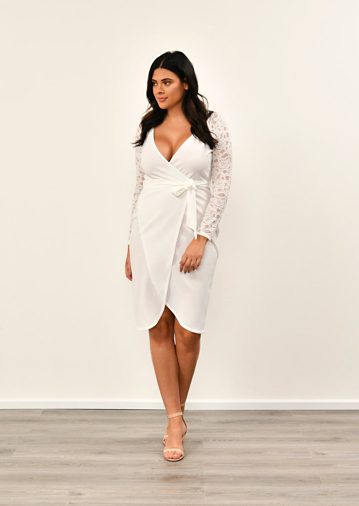 Pink Clove Ivory Lace Sleeve Wrap Dress view 3