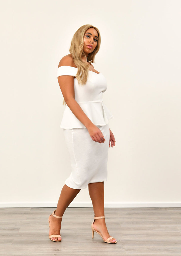 Cream Off The Shoulder Peplum Dress 1