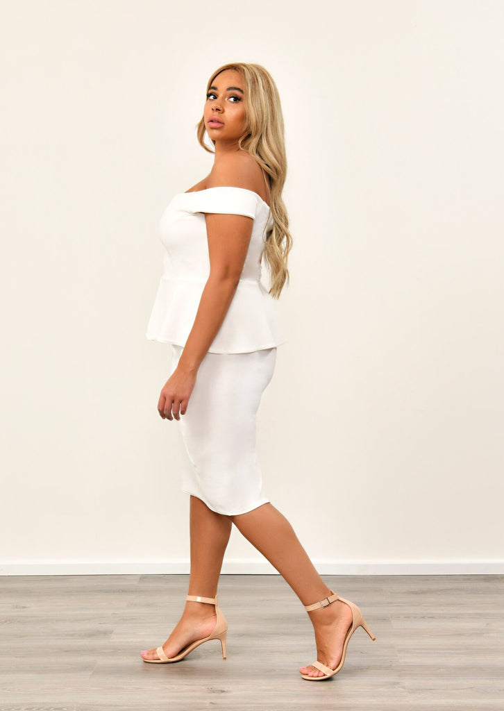 Cream Off The Shoulder Peplum Dress 3 view 3