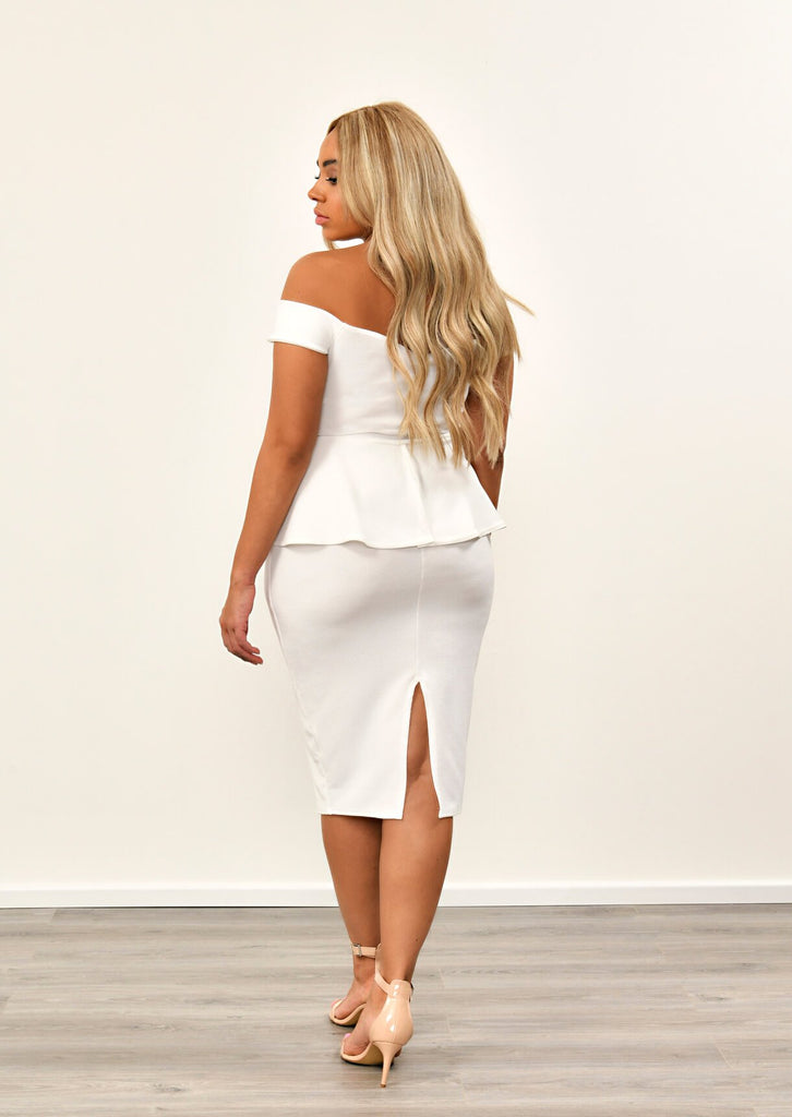 Cream Off The Shoulder Peplum Dress 4 view 4