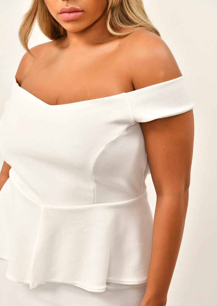 Cream Off The Shoulder Peplum Dress 5 view 5