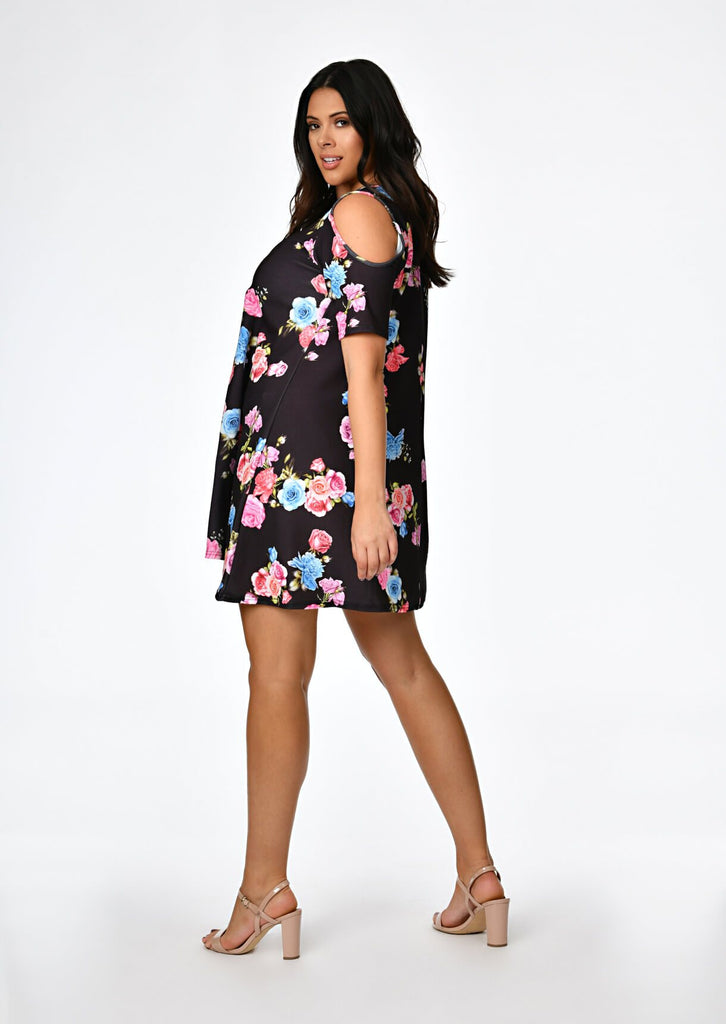 Black Floral Print Short Sleeve Shift Dress 2 view 2