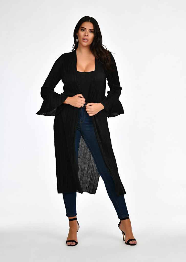 Black Pleated Tie Duster Jacket 1