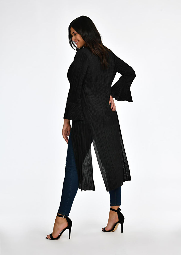 Black Pleated Tie Duster Jacket 3 view 3