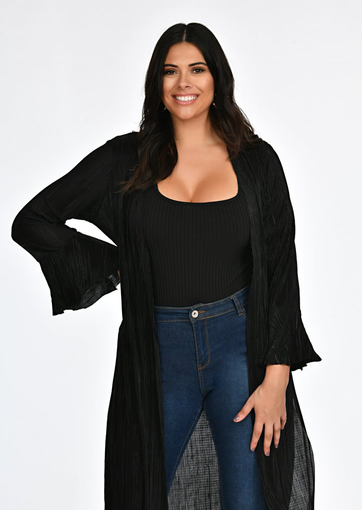Black Pleated Tie Duster Jacket 4 view 4