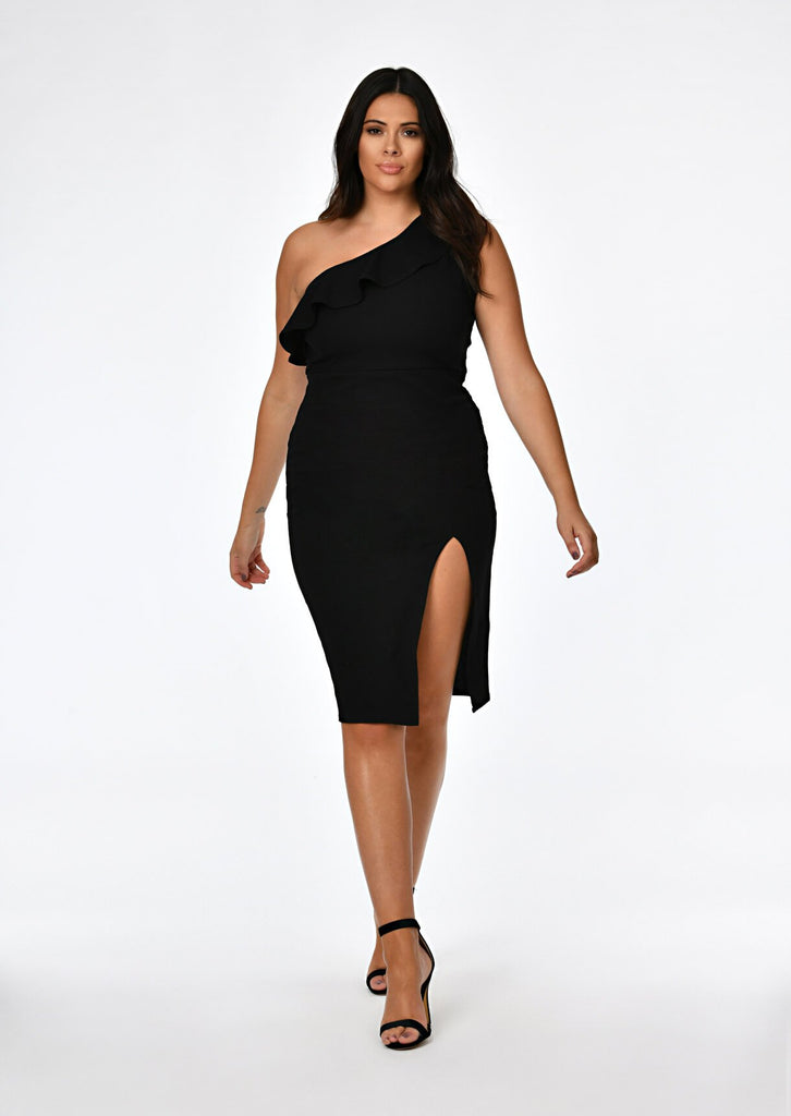Black One Shoulder Frill Dress 1 view main view