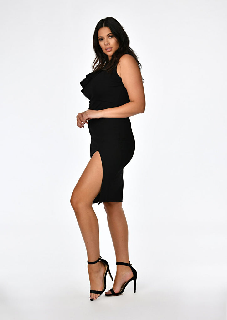 Black One Shoulder Frill Dress 2 view 2