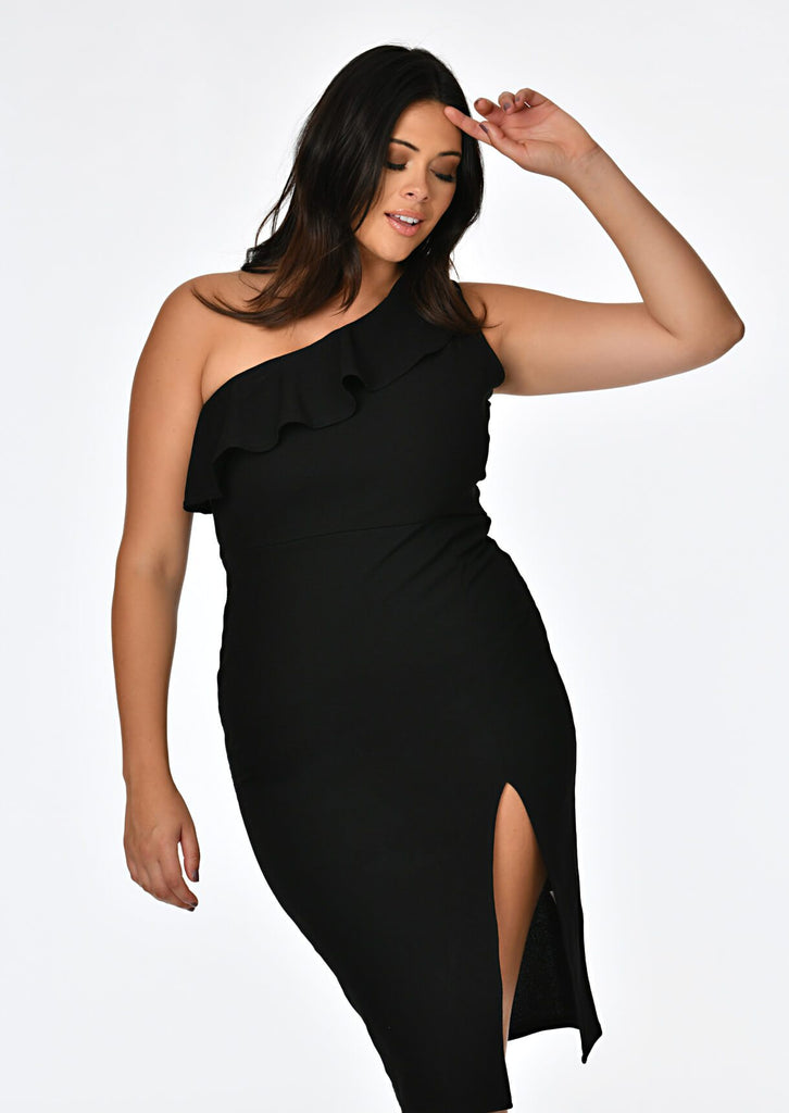 Black One Shoulder Frill Dress 4 view 4