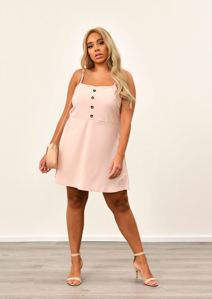 Pink Clove Nude Button Detail Pinafore Dress view 3