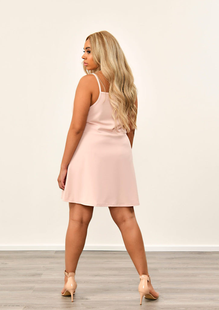 Pink Clove Nude Button Detail Pinafore Dress view 2