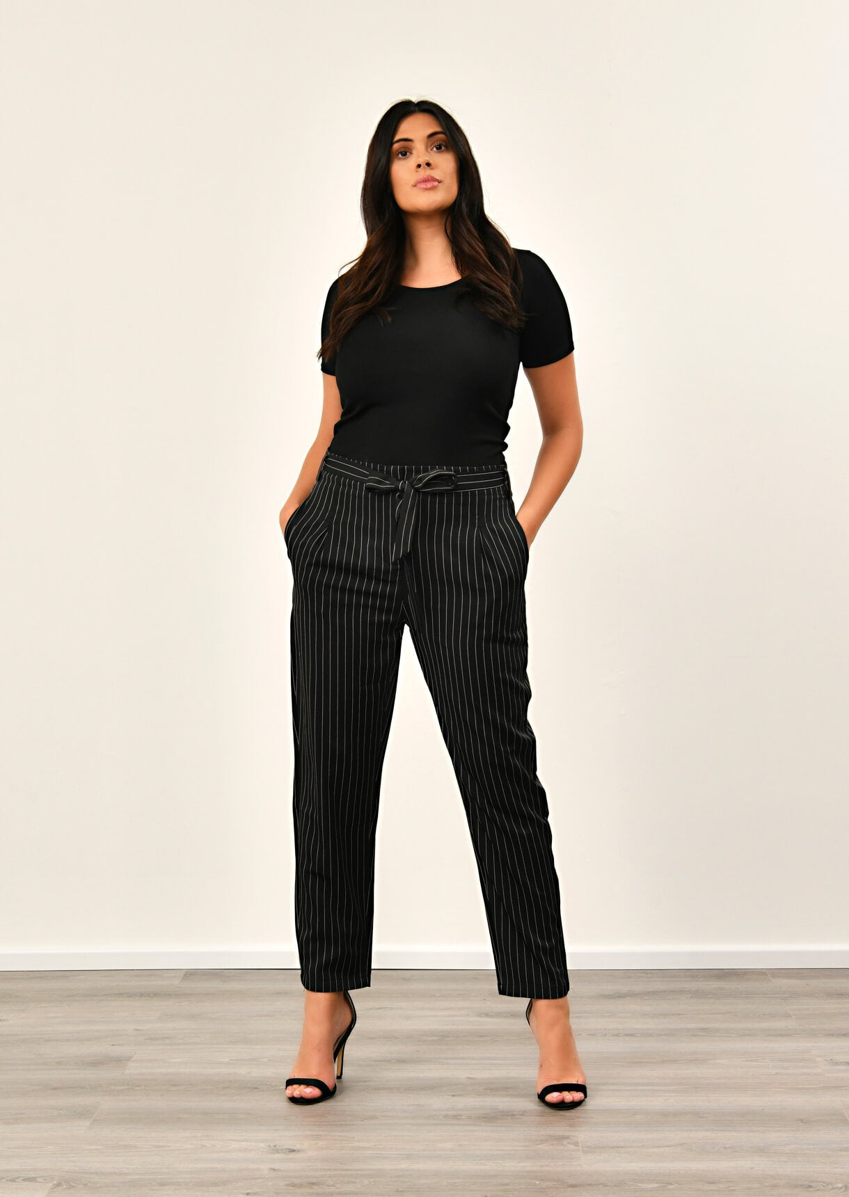 Black Pinstripe Belted Trousers