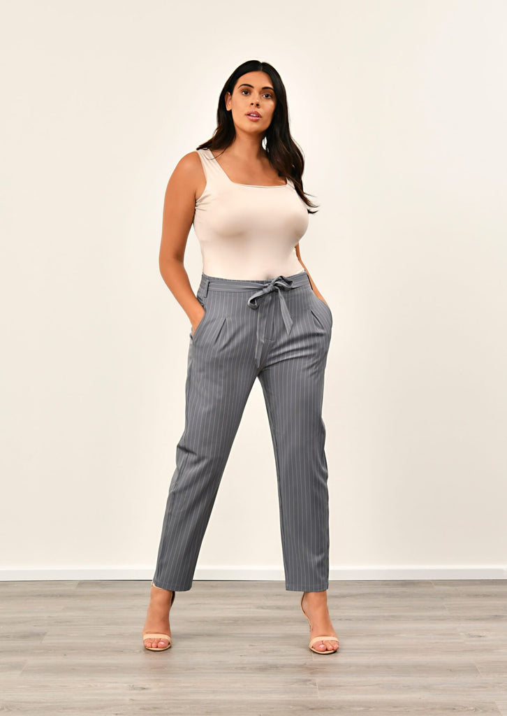 Pink Clove Grey Pinstripe Belted Trousers view main view