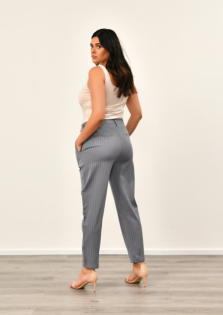 Pink Clove Grey Pinstripe Belted Trousers view 2