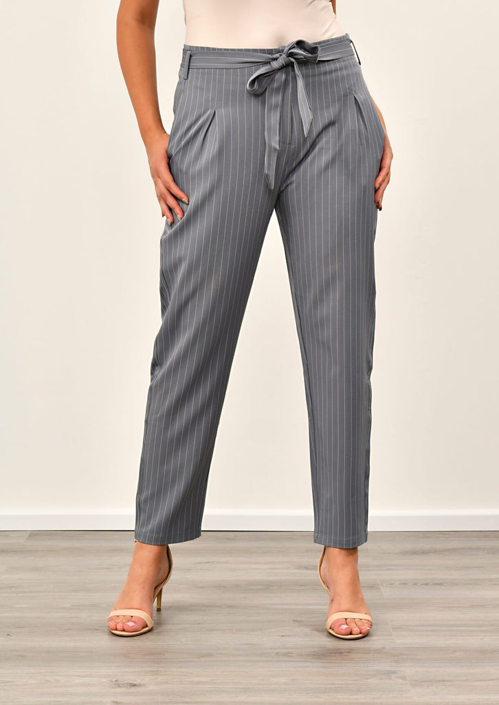 Pink Clove Grey Pinstripe Belted Trousers view 4