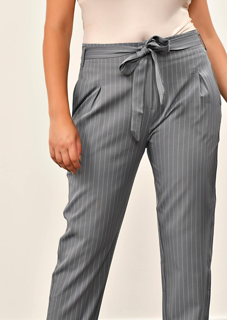 Pink Clove Grey Pinstripe Belted Trousers view 5