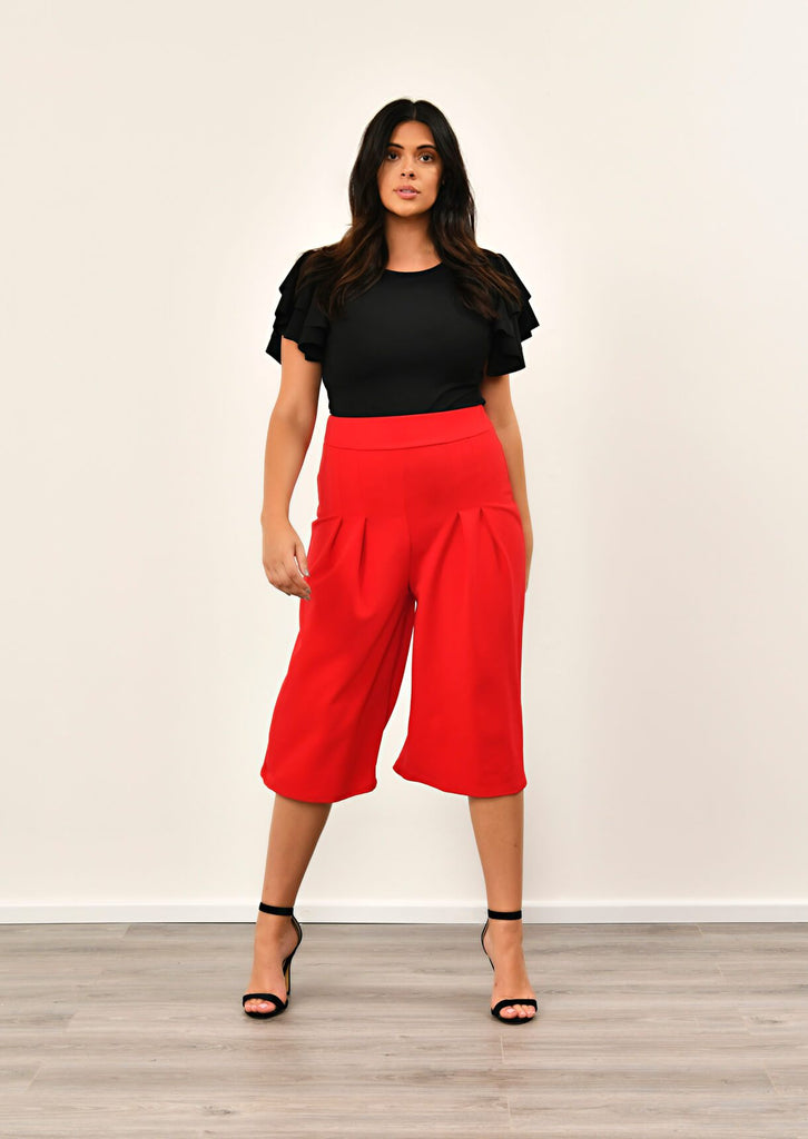 Red Scuba Wide Leg Culottes 1 view main view