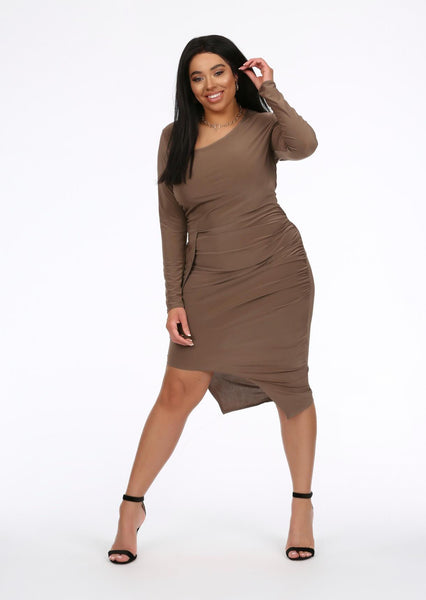 af17d1fbf6 plus size mocha slinky asymmetrical midi dress