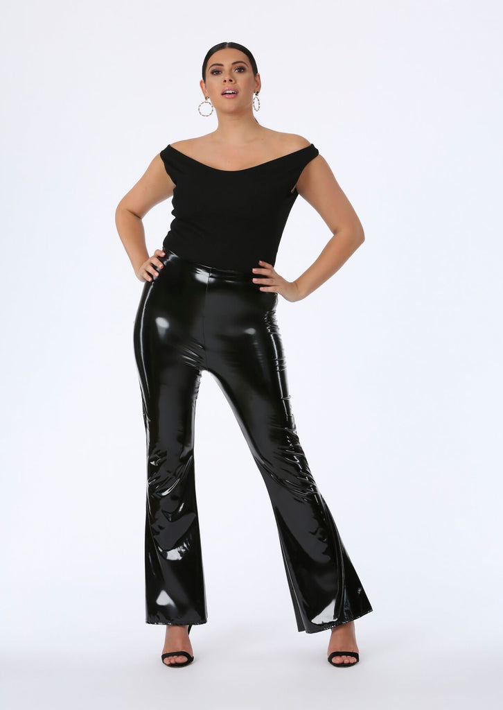 Black PVC Flare Trousers 2 view 2