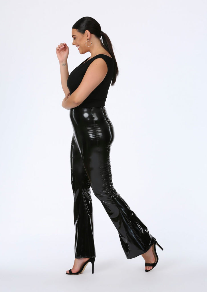 Black PVC Flare Trousers 3 view 3